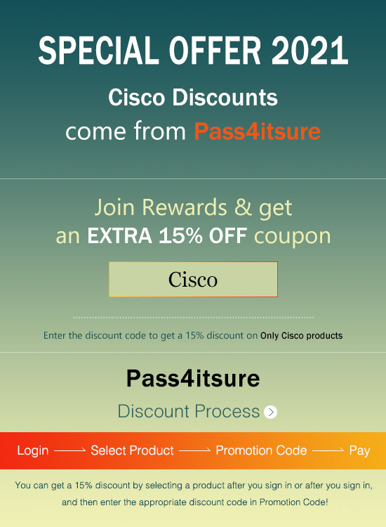 Pass4itsure Cisco dumps discount code